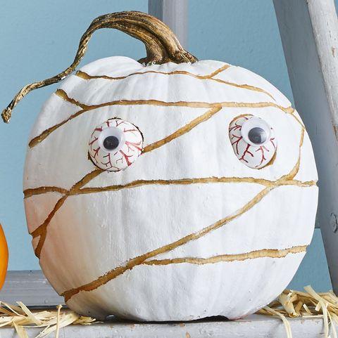 painted mummy pumpkin design