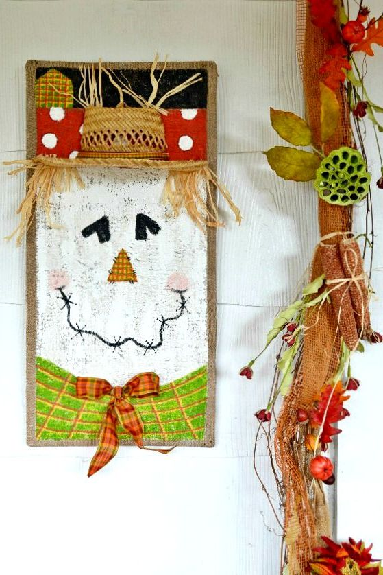 painted scarecrow on burlap