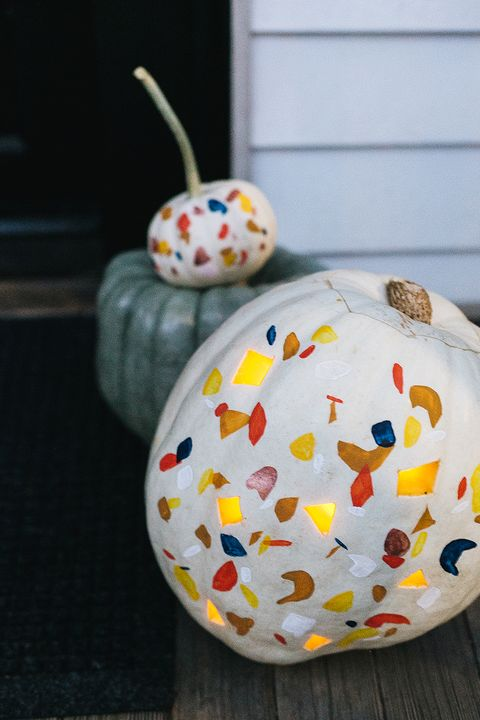 painted terrazzo carved pumpkin