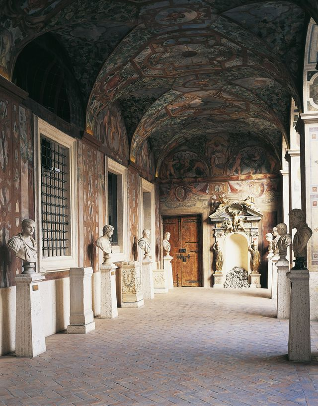 italy   december 09  loggia with vaults and frescoed walls, 1595, under which there is a collection of busts of roman emperors, palazzo altemps, seat of the national museum of rome, rome italy, 16th century photo by deagostinigetty images