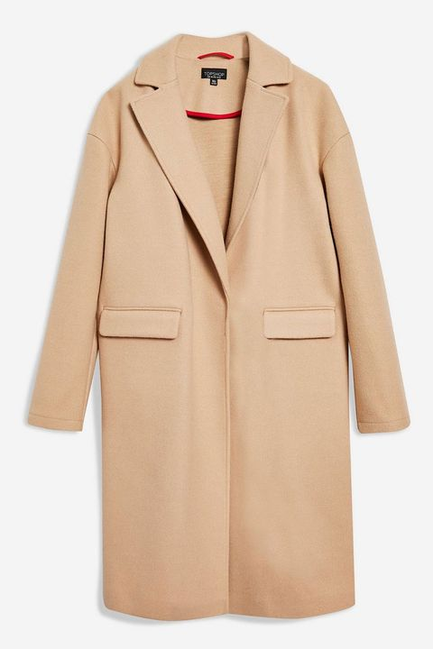 Topshop pale camel coat with concealed buttons