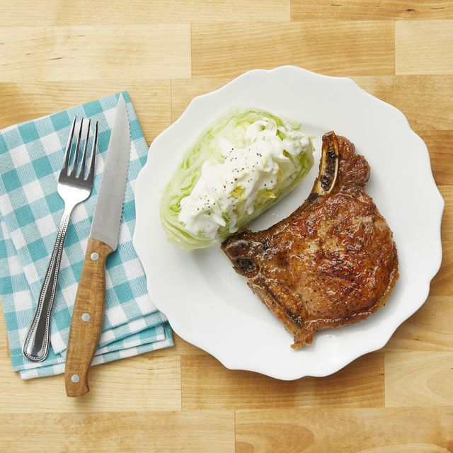 best pork recipes plate with pork chops and wedge salad