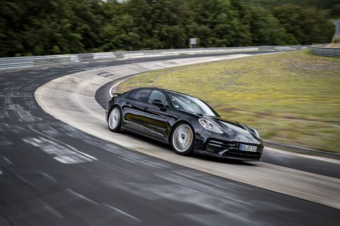 a yet to be officially revealed updated porsche panamera hits the famous german track to set an executive car lap record