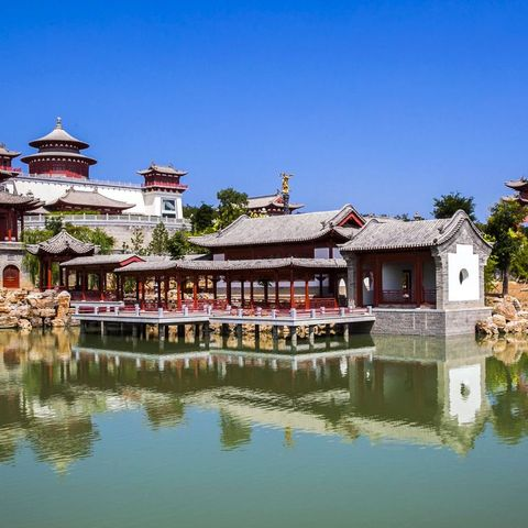 Reflection, Waterway, Water, Architecture, Building, Sky, Chinese architecture, River, Pond, House,