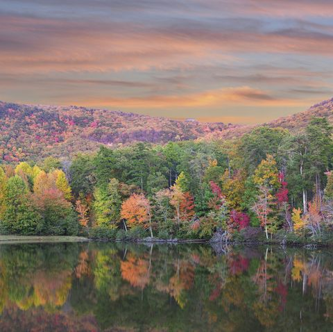 Panorama of Fall Foliage Reflected in the Lake at Cheaha State Park, Alabama