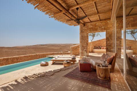 outdoor terrace of six senses israel villa