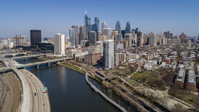panoramic aerial view on philadelphia downtown over schuylkill river in a sunny day