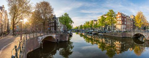 panoramic view of amsterdam at sunrise