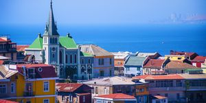 Panoramic view of the city of Valparaiso, Chile.