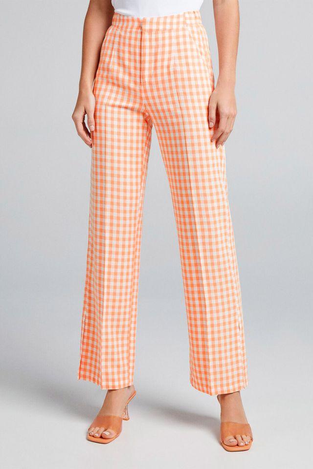 pantalón ancho vichy de bershka