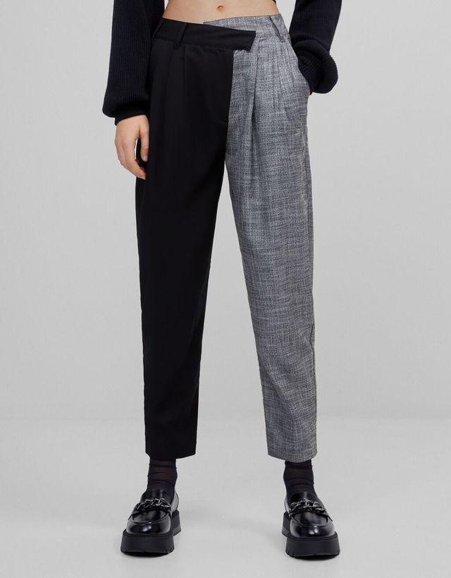 El Pantalon De Vestir Bicolor De Bershka Que Afina La Cintura
