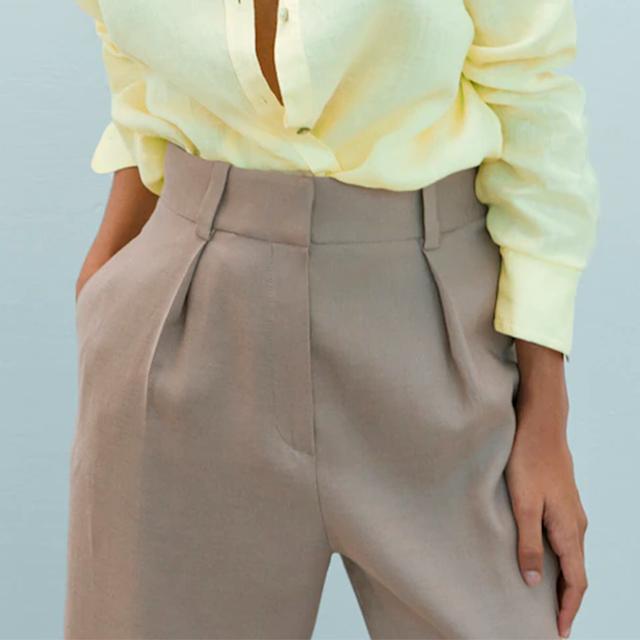 pantalón recto con detalle rebajado de massimo dutti