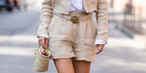 White, Clothing, Street fashion, Waist, Fashion, Pink, Beige, Outerwear, Shorts, Footwear,