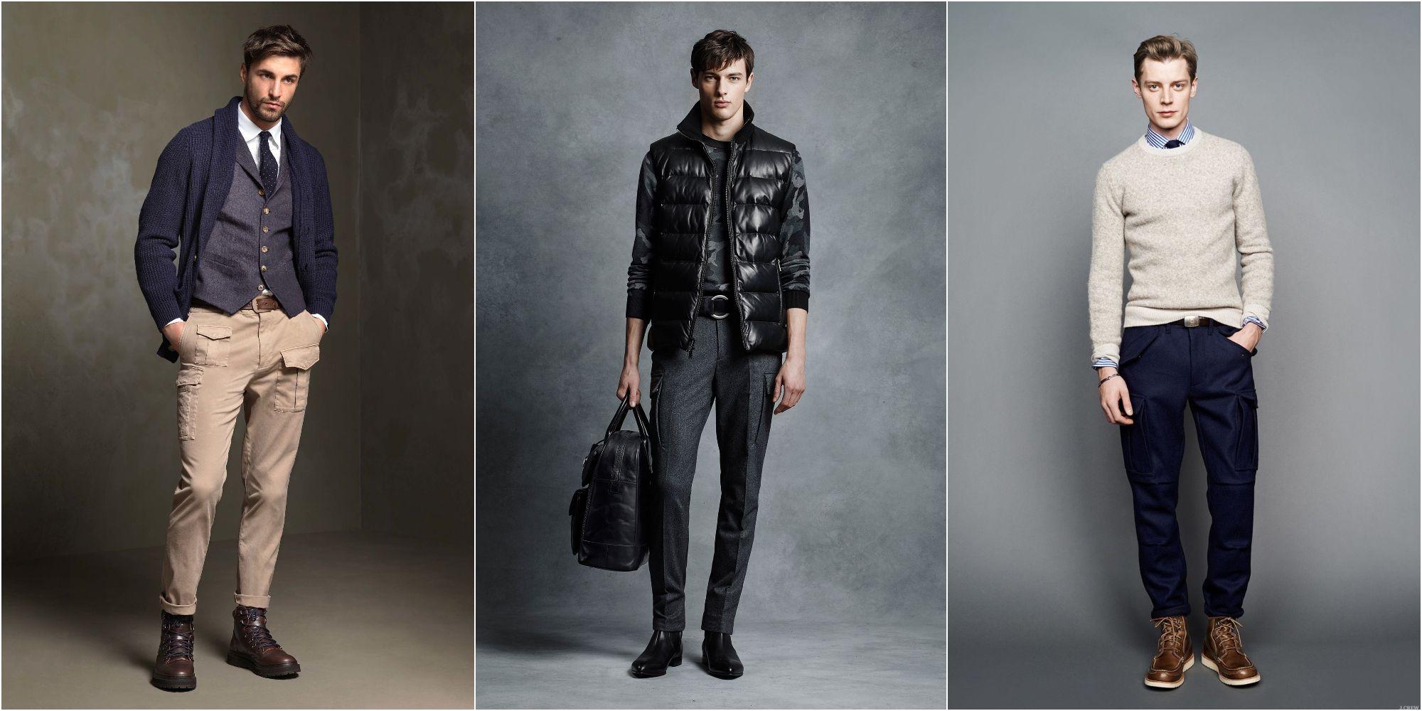 Moda uomo. Maglione, pantaloni cargo, giacconi sportivi e