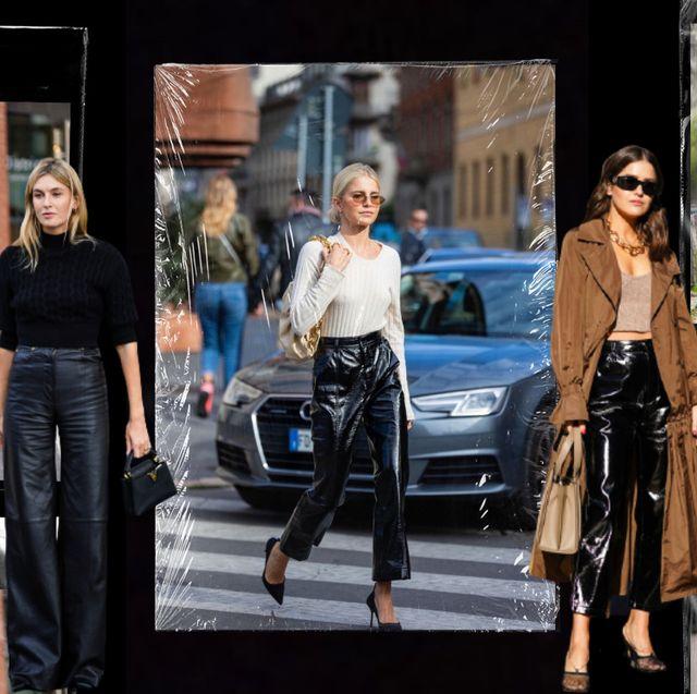 pantalones cuero negro