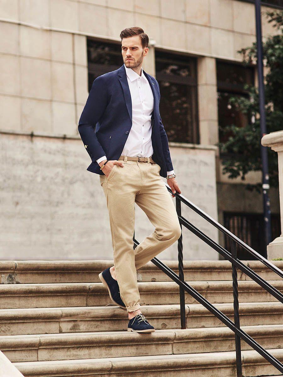 Spezzato uomo giacca blu pantalone beige