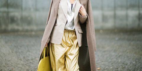 Clothing, Street fashion, Yellow, Outerwear, Fashion, Coat, Blazer, Trench coat, Beige, Dress,