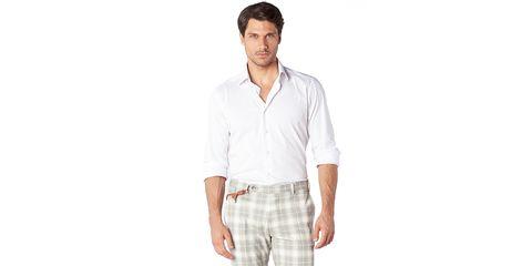 Clothing, White, Sleeve, Plaid, Dress shirt, Collar, Pattern, Shirt, Formal wear, Neck,