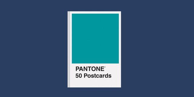 pantone 50 postcards set with blue background