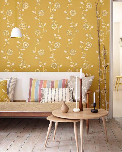 Lounge cu Wallpaper Flower Galben