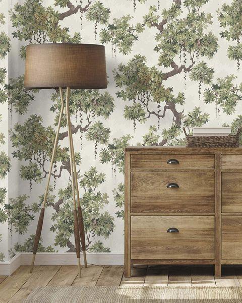paredes papel pintado con árboles