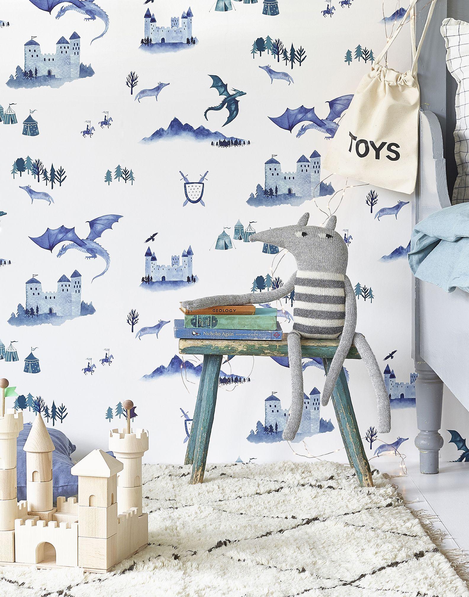 Papel pintado infantil con dibujos de castillos y dragones