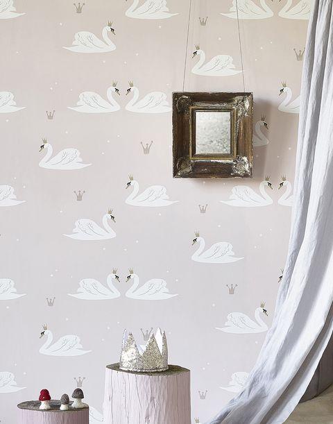 Papel pintado infantil con dibujos de cisnes