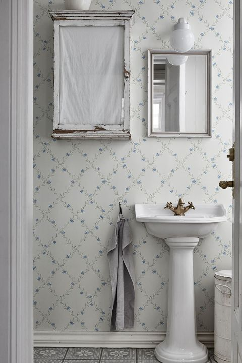 Papel pintado geométrico floral para el baño