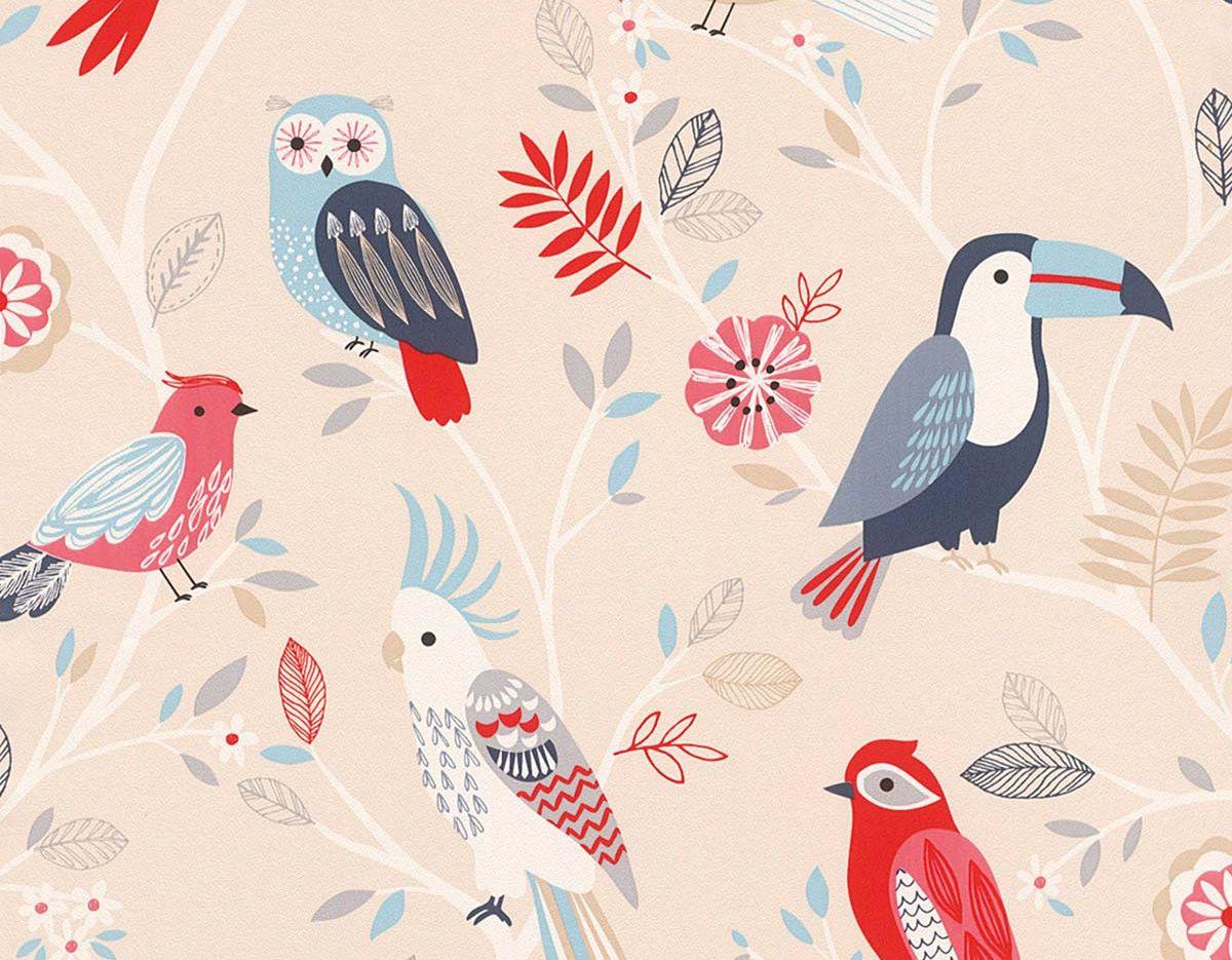 Papel pintado tropical con aves
