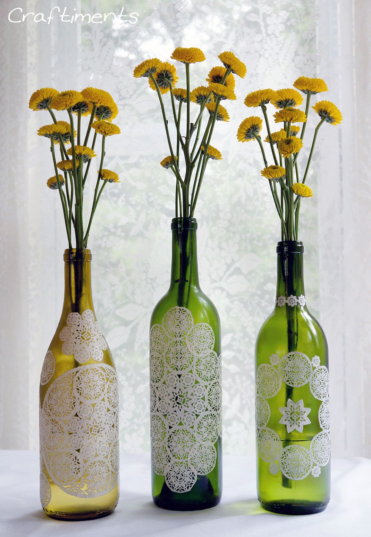 paper doily wine bottle centerpiece