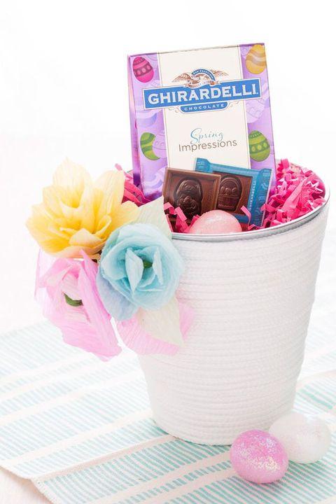 paper flowers easter basket idea