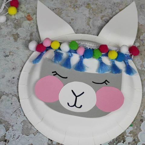 Paper plate llama kids craft
