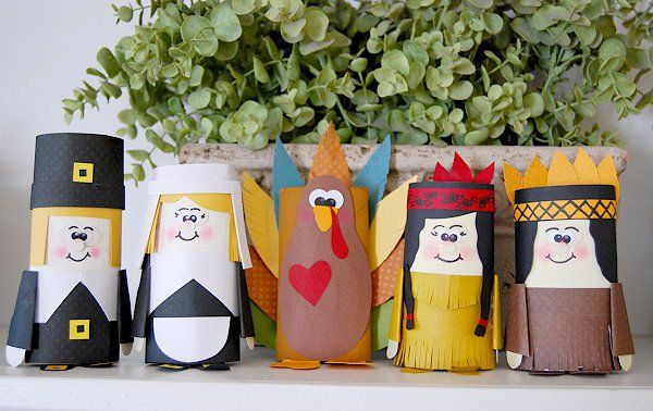 paper tube thanksgiving characters craft for kids