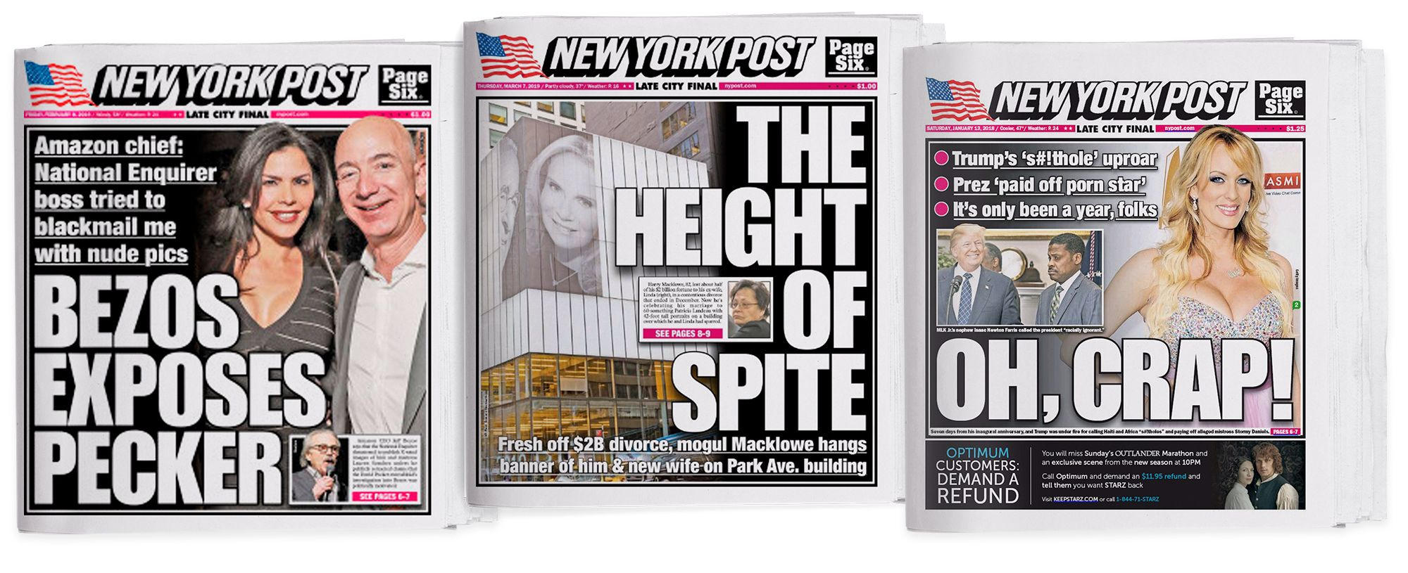 Only in New York, Kids ... The road to ruin is paved with tabloid wood, with the New York Post breathlessly covering every detail of the Bezos, Macklowe, and Trump indiscretions.