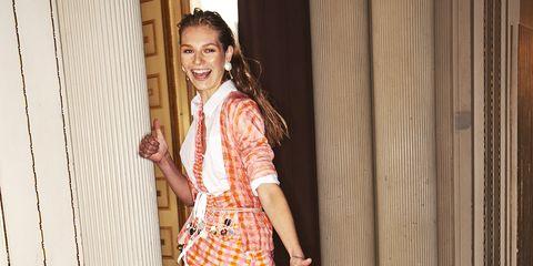 Clothing, Fashion, Yellow, Beauty, Dress, Fashion design, Fun, Shoulder, Footwear, Leg,