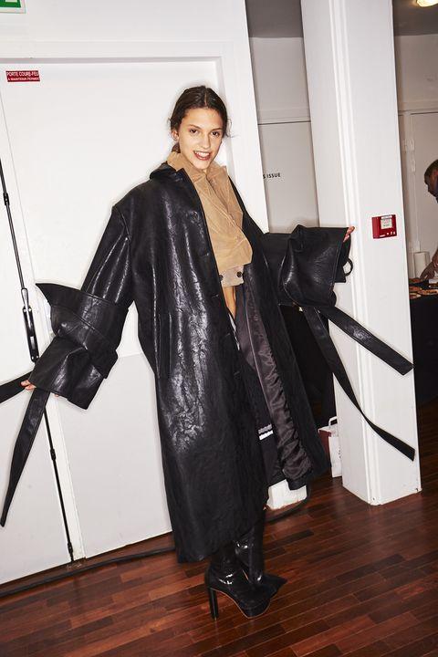 Clothing, Outerwear, Fashion, Leather, Footwear, Leather jacket, Textile, Fashion design, Jacket, Black hair,