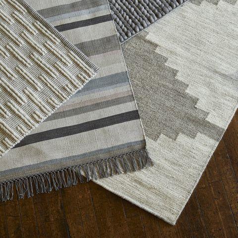 Beige, Floor, Brown, Rug, Patchwork, Wood, Flooring, Textile, Rectangle, Silver,