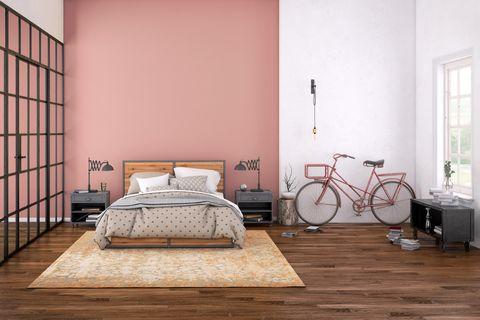 Dormitorio de color rosa empolvado