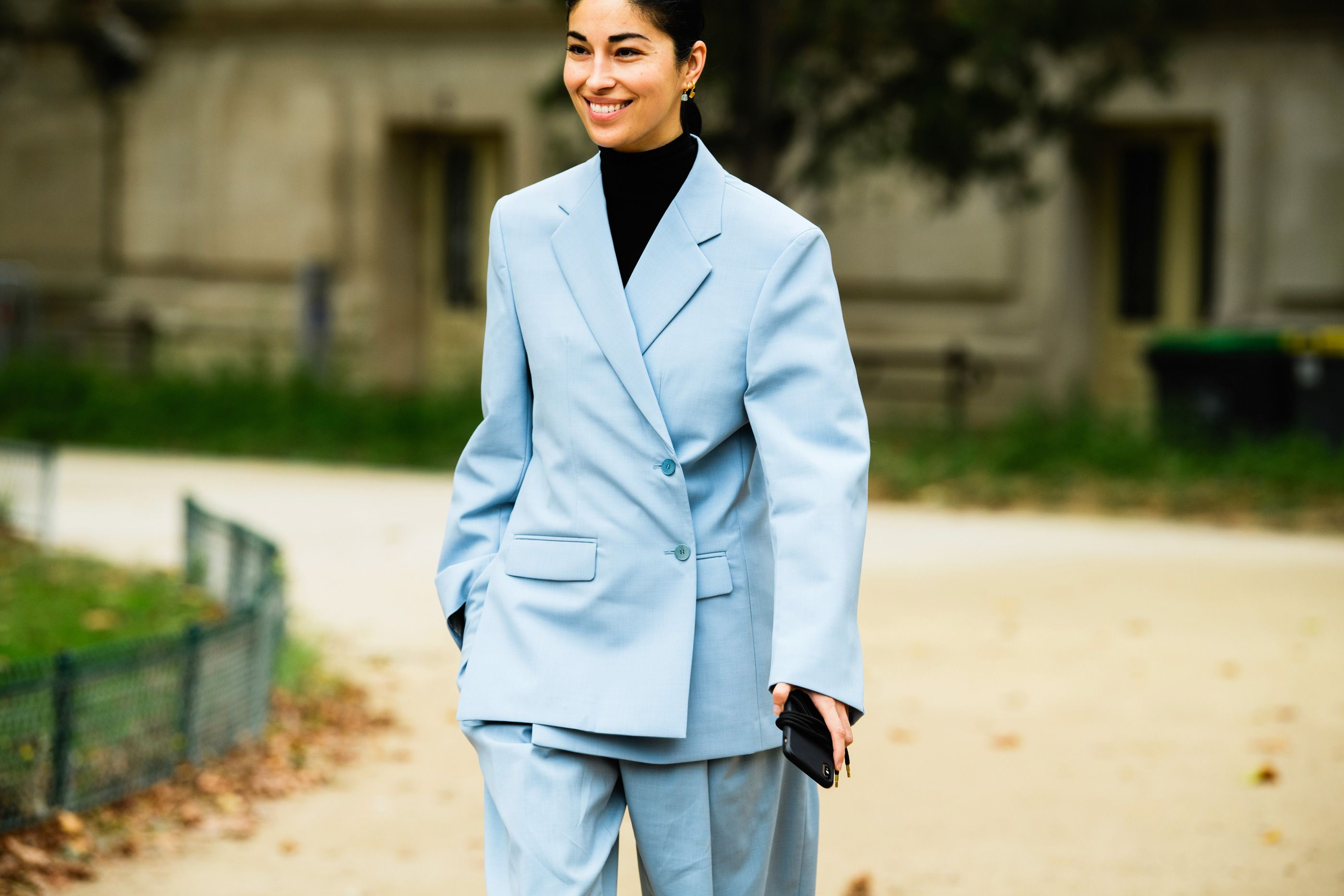 Winter style idea. Parka jacket, grey sweater, black jeans