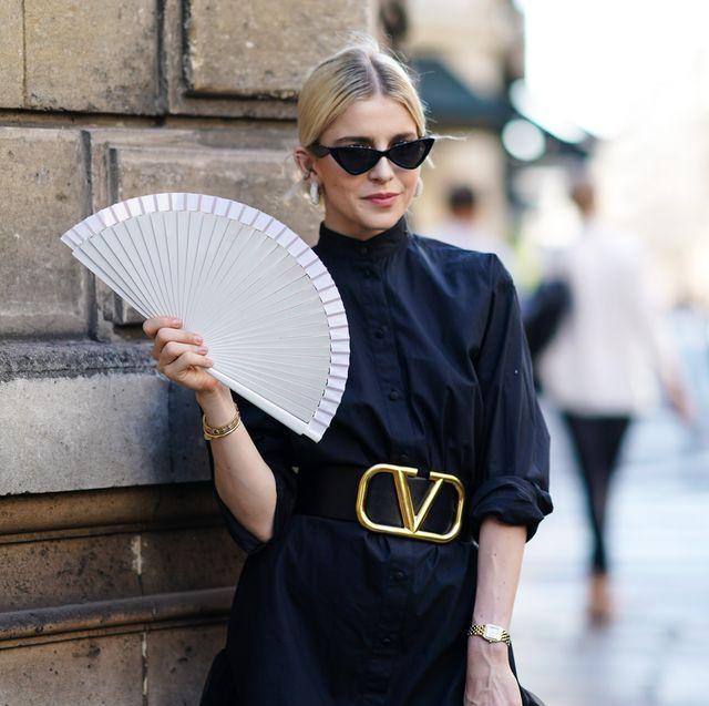 paris fashion week caro daur streetstyle fan waaier