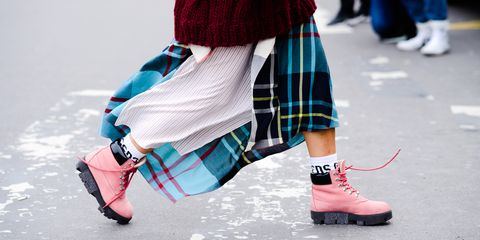 Street fashion, Plaid, Tartan, Footwear, Clothing, Pink, Fashion, Ankle, Pattern, Shoe,