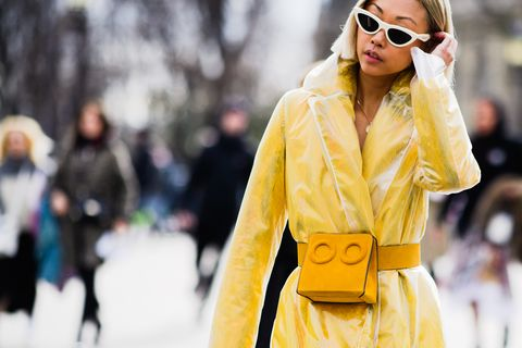 Eyewear, Street fashion, Fashion, Yellow, Clothing, Outerwear, Sunglasses, Coat, Fashion model, Beauty,