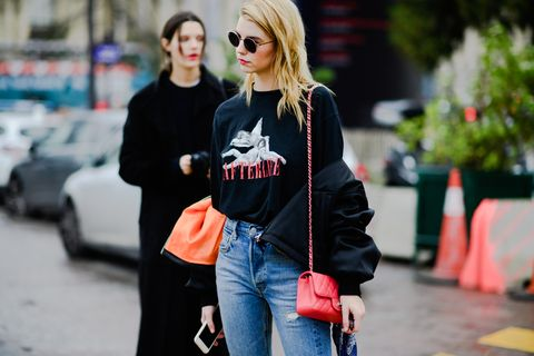 Street fashion, Clothing, Jeans, Fashion, Shoulder, Eyewear, Sunglasses, Snapshot, Blond, Outerwear,