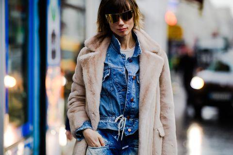 Clothing, Street fashion, Jeans, Fashion, Denim, Outerwear, Eyewear, Jacket, Coat, Snapshot,