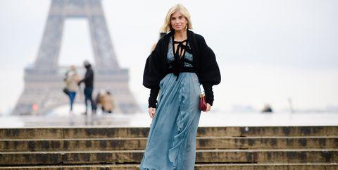 Street fashion, White, Clothing, Blue, Fashion, Beauty, Outerwear, Footwear, Standing, Winter,