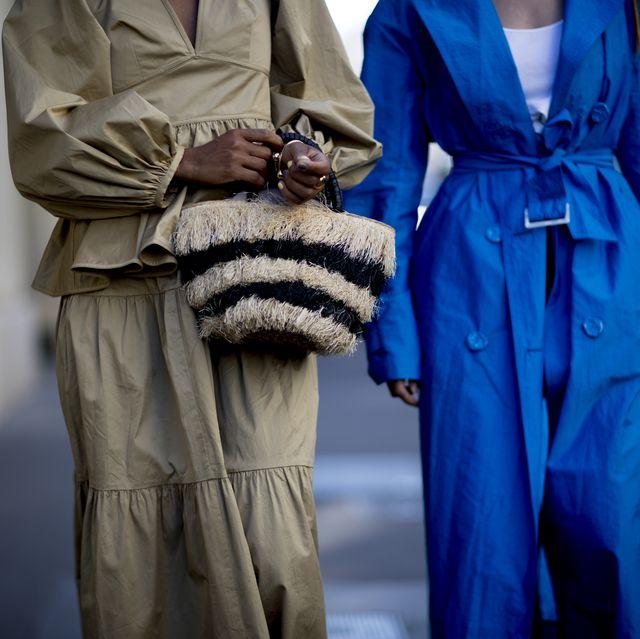 Street fashion, Fashion, Fur, Coat, Human, Trench coat, Outerwear, Electric blue, Overcoat, Fashion accessory,