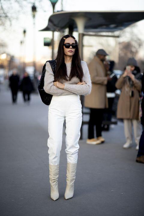 Looks En Pantalon Blanco De Las Editoras De Moda En Invierno