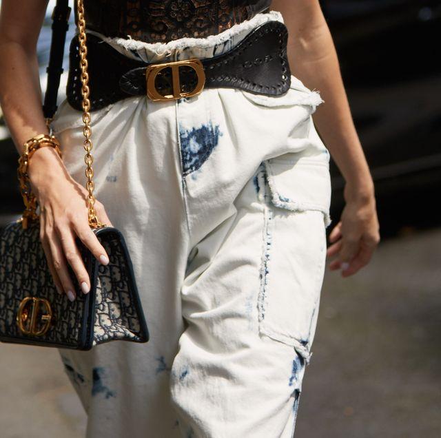 White, Street fashion, Clothing, Fashion, Jeans, Footwear, Waist, Denim, Bag, Fashion accessory,