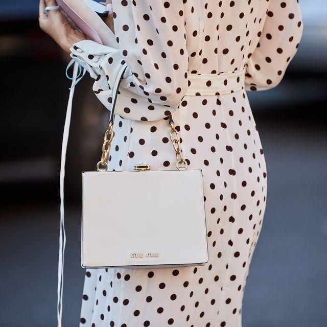 White, Clothing, Pattern, Polka dot, Dress, Pink, Street fashion, Fashion, Design, Sleeve,