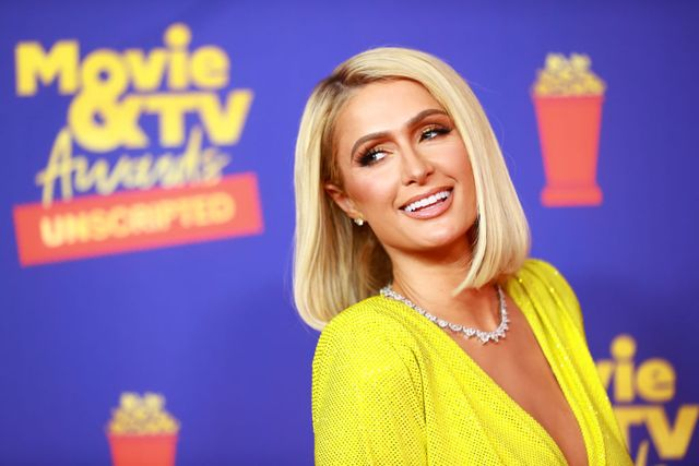 los angeles, california   may 17 in this image released on may 17, paris hilton attends the 2021 mtv movie  tv awards unscripted in los angeles, california photo by matt winkelmeyer2021 mtv movie and tv awardsgetty images for mtvviacomcbs